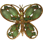 SALE Gorgeous Vintage Frosted Green Marquise Austrian Crystal Butterfly Pin/Pendant