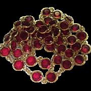 """SALE Vintage Swarovski Ruby Red Bezel Set Crystals 32"""" Necklace Swan Logo Tag"""