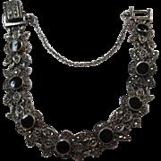 SALE Gorgeous Vintage Onyx & Marcasite Sterling Silver Bracelet 925