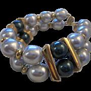 SALE Gorgeous Napier signed Vintage Double Row Wide fx Pearl Statement Bracelet