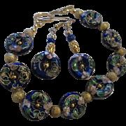 SALE Gorgeous Chinese Cobalt Cloisonne Vermeil Vintage Bracelet & Earrings Set