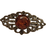 SALE Gorgeous Amber Marcasite Sterling Silver Brooch/Pin 925 signed