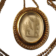 SALE Incredible Vintage Cupid & Venus Clear Glass Intaglio Reverse Carved Cameo Pendant on ...