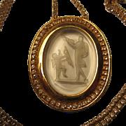 SALE Incredible Vintage Cupid & Venus Clear Glass Intaglio Reverse Carved Cameo Pendant on Qua