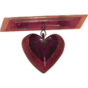 SALE Be My Valentine Vintage Lucite/Early Plastic Unique Colorful Heart Pin