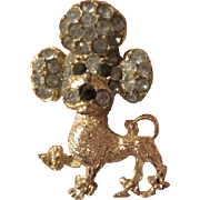 SALE Wonderful Vintage Rhinestone Poodle Pin