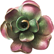 SALE Stunning Substantial Vintage Artfully Enameled Pink & Green Flower Brooch/Pin