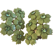 SALE Fab Vintage Lime Celluloid Rhinestone Flower Clip Earrings