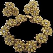 SALE Fabulous Coro Yellow Daisy Rhinestone Vintage Demi Parure Bracelet & Earrings