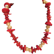 "SALE Striking Genuine Coral & Pearl 22"" Necklace"