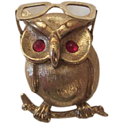 SALE Wonderful Vintage Wise Old Owl with Moveable Glasses Figural Pin Signed