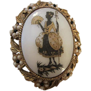 SALE Lovely Lady Vintage Porcelain Pin with Black & White stone Oval Frame Pin/Pendant
