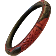 SALE Vintage Rare Carved Red & Black Cinnabar Bangle Bracelet Asian Chinese