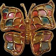 SALE Gorgeous Vintage Plique a Jour Acrylic Butterfly Brooch/Pin
