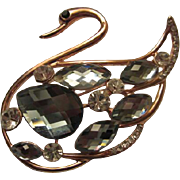 SALE Gorgeous Rose gold plated Faceted Glass Crystal Swan Vintage Brooch/Pin