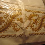SALE Vintage Pair Gold Embroidered Wamsutta Supercale No Iron Pillowcases NOS Original ...