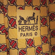 SALE Authentic Vintage Hermes Paris Silk Classic Lattice Horse bit Men's Neck Tie Made ...