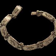 SALE Lovely Vintage Sterling Silver White Enamel Siam Niello Bracelet