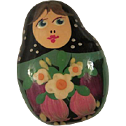 SALE Vintage Folk Art Hand painted Russian Doll Pin