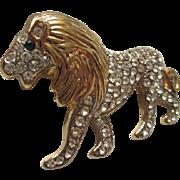 SALE Gorgeous Lion Pave Set Crystal Emerald Glass Eye Brooch/Pin