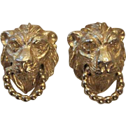 SALE Vintage Mimi di N Signed Classic Lion Head Door Knocker Clip Earrings