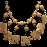 SALE Lucky Vintage 7 Elephants Trunks Up Hand Carved Bone Necklace