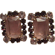 D&E Juliana Statement Purple & Lavender Emerald Cut Glass Clip Earrings