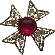 SALE Gorgeous Vintage Ruby Red Crystal Maltese Cross Pin Pendant