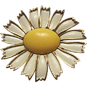 SALE Classic WEISS signed Enamel Daisy Brooch/Pin
