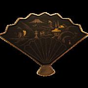 SALE Japanese Amita Damascene Komai Fan Pin signed
