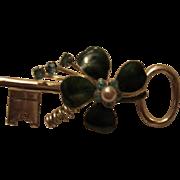 SALE Coro Pegasus 4 Leaf Clover Shamrock Guilloche Enamel Key Brooch/Pin Signed