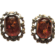 SALE Wonderful Vintage Baltic Honey Amber Sterling Silver Clip Earrings 925