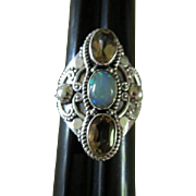 Gorgeous Opal and Citrine Sterling Silver Bench made North South Ring 925
