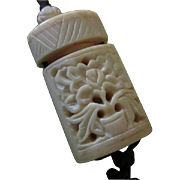 Wonderful Hand Carved Bone Scent Container Vintage Asian Pendant Necklace