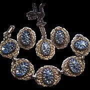 Vintage Blue Reverse Molded Iridescent Art Glass Cabochons Parure Bracelet Pendant Earrings ..