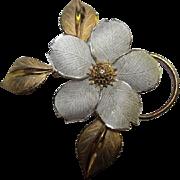SALE Striking Vintage Dogwood Sterling & Vermeil Flower Figural Pin Signed