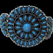 SALE Vintage Petit Point faux Turquoise Silver tone Southwestern Zuni type Bracelet