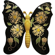 SALE Beautiful Hand Painted Enamel Butterfly Vintage Pin West Germany Signed