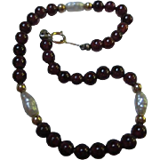 SALE Garnet and Fresh Water Pearls 14K Gold Clasp Bracelet
