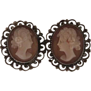 SALE Beautiful Victorian Shell Cameo Silver Filagree  Earrings