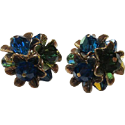 SALE Gorgeous Vendome Signed Blue Green AB Crystal Flower Vintage Earrings Pristine