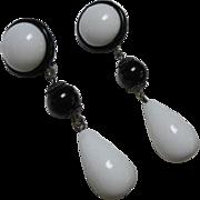 SALE Striking Mod Retro Black and White Dangle Vintage Lucite Clip Earrings