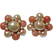SALE Beautiful faux Coral and Pearl Cluster Vintage Clip Earrings
