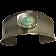 SALE Vintage Modernist Denmark Jorgen Jensen Signed Pewter Turquoise Stone Handmade Bracelet
