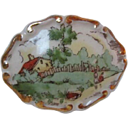 SALE Wonderful Victorian Porcelain Hand Painted Country Scene Brooch Pin C Clasp
