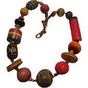 SALE Funky Colorful Hand painted and Carved Wood Bead Vintage Necklace Boho OAK Must See!