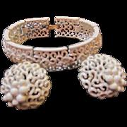 SALE Crown Trifari Signed White Enamel Bracelet and Matching Earrings Set