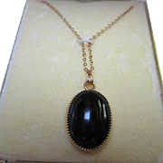SALE Classic Onyx Oval Pendant Gold filled frame and chain in Original Vintage Box