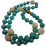SALE Gorgeous Chinese Turquoise Carved Bone Rosettes 26 inch Vintage Necklace