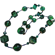 SALE Fabulous Greenish Blue Cubist and Round Lucite Modernist Vintage Necklace